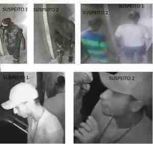 Suspeitos foram flagrados pelo sistema de segurança do prédio. Foto: Divulgação