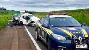 Acidente envolveu um veículo brasileiro e um veículo argentino. Foto: Divulgação / PRF