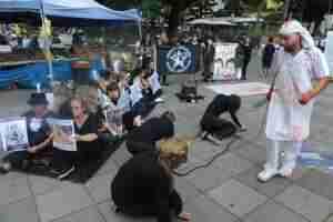 Entidades protestam em Porto Alegre contra transporte de animais vivos | Foto: Mauro Schaefer / CP