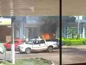 Criminosos fugiram em uma caminhonete S10 branca em Três Palmeiras | Foto: Caviana Silva / Especial / CP