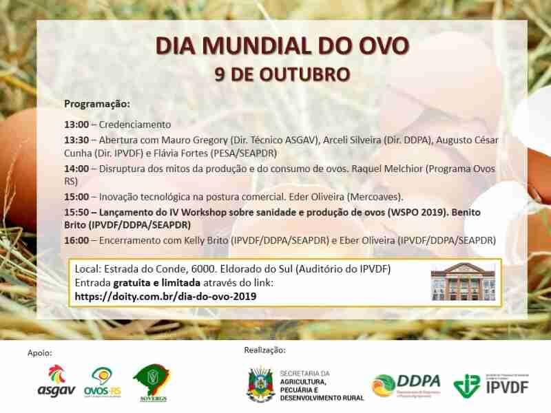 9 de outubro de 2019, 13h00 - 17h00 Instituto de Pesquisas Veterinarias Desiderio Finamor, Eldorado do Sul, RS