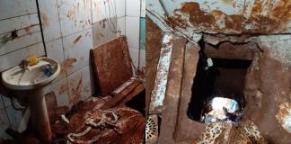 Túnel foi aberto em cela de prisão na fronteira do Paraguai com o Brasil   Foto: ABC Color
