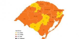 Mapa do Distanciamento Controlado mostra quase todo o RS com a bandeira laranja   Foto: Reprodução/Palácio Piratini